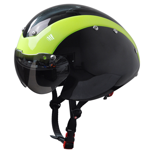 Professional aero time trial road racing helmet TT cycling helmet with goggles